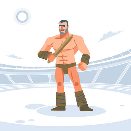 Ancient Rome Gladiator warrior with wooden sword for training. Vector illustration. Flat style. Vettoriali
