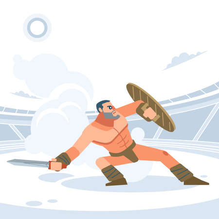 Gladiator. The warrior is in a pose of protection. Vector isolated flat design style