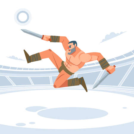 Spartan warriors fight in the arena of gladiators. Gladiator with two swords, kicks his feet in the jump. Vector isolated illustration. Flat cartoon style.