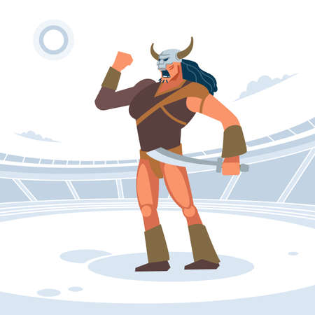 Giant warrior in the Gladiator arena. Gladiator before the battle welcomes the Emperor. Vector isolated illustration. Flat cartoon style