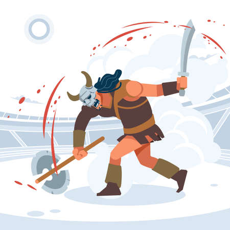 Blood and sand, the battle of the titans. A huge aggressive Gladiator attacks. Vector isolated illustration. Flat cartoon style