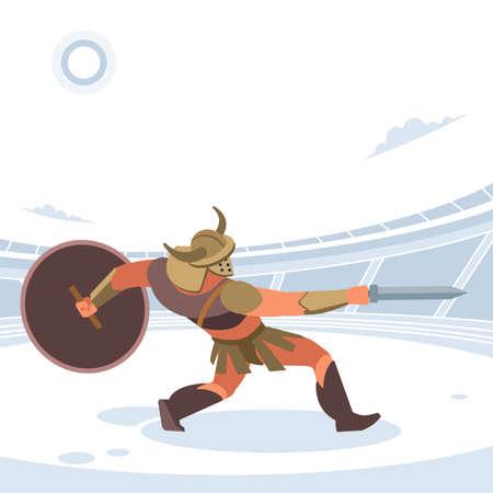 Gladiator in a battle. Vector isolated illustration. Flat cartoon style