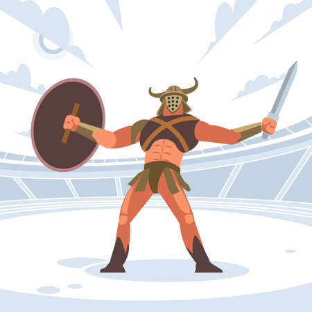 Gladiator in armor with shield. Vector isolated illustration. Flat cartoon style