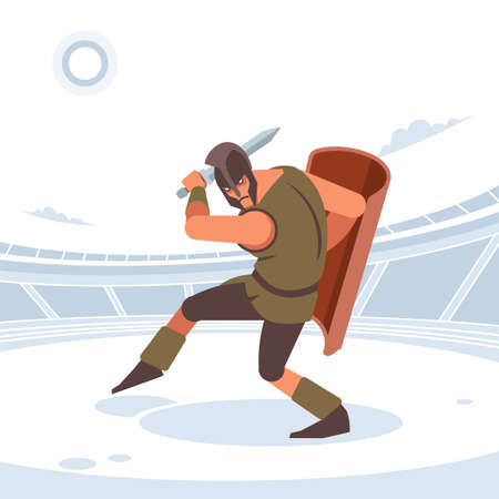 Gladiator with sword and armor. Vector isolated illustration. Flat style