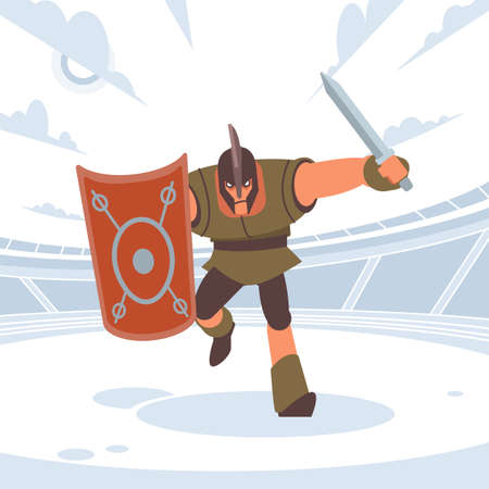 Achilles in battle runs to the enemy with a sword and shield. Vector isolated illustration. Flat cartoon style