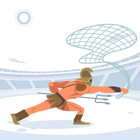 Warrior retiarius Gladiator in the arena with a grid and a Trident. Side view. Vector isolated illustration. Flat cartoon style
