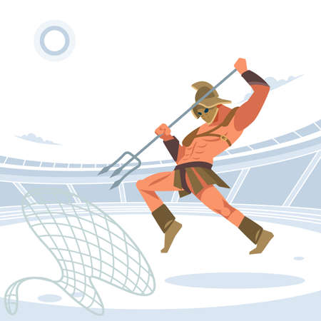 Warrior retiarius Gladiator in the arena with a grid and a Trident jumps on the caught enemy. Vector isolated illustration. Flat cartoon style