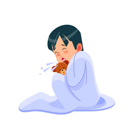 Little boy has flu, child sneezes into a handkerchief. Sick child boy sitting in bed with toy bear and blowing her nose, feel so bad with fever. Cartoon vector illustration isolated background.