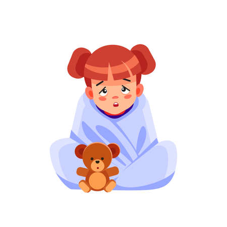 Sick child with seasonal infections, flu, allergy lying in bed. Sick girl covered with a blanket lying in bed with high fever and a flu, resting. Coronavirus. Quarantine. Cartoon vector illustration. Vecteurs