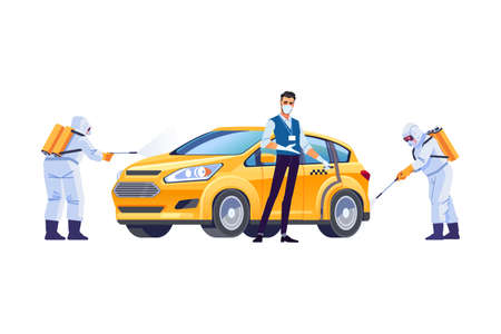 Coronavirus disinfection. Taxi driver in a protective mask and gloves. Covid-19 or Coronavirus pandemic protection. Cartoon style vector illustration isolated on white background. Illustration