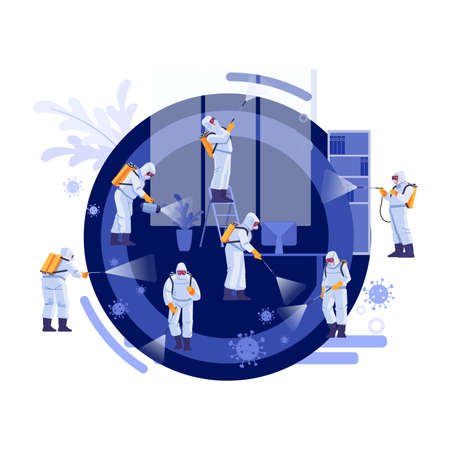 Disinfection Services and Deep Cleaning. Coronavirus, pandemic. Group Of Janitors In Uniform Cleaning and remediation to curb infection. Vector illustration. Illustration