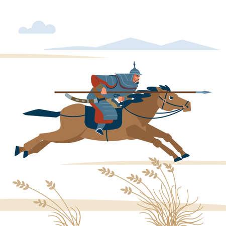 Mongol rider. Medieval battle historical illustration. Vector flat isolated illustration Vektoros illusztráció