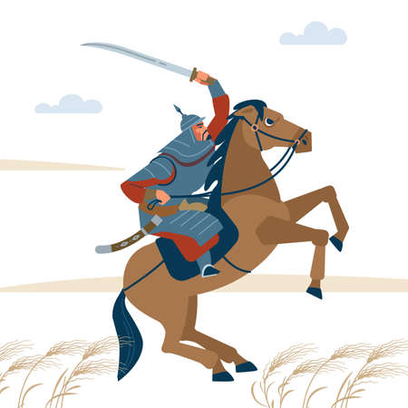 Nomad mongol man riding brown horse in steppe holding sword attacking. Central Asian warrior horseman, ready to attack in battle. Isolated vector illustration in flat cartoon style.