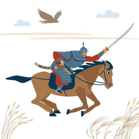 Central Asian warrior horseman, attack in battle. Isolated vector illustration in flat cartoon style