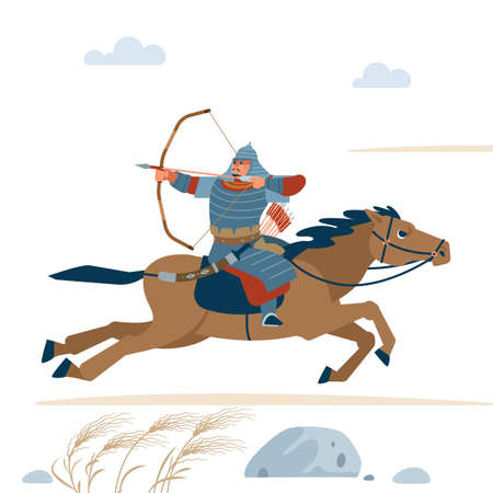 Central Asian Warrior with bow, Riding horse, isolated vector flat illustration. Ilustracja