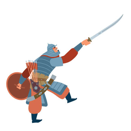 Nomad mongol man in steppe holding sword attacking. Central Asian warrior, attack in battle. Isolated vector illustration in flat cartoon style. Vektoros illusztráció