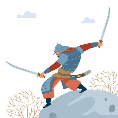 Central Asian Warrior. Nomad warrior with two swords on stone, attacks in battle. Medieval battle illustration. Historical illustration. Isolated vector flat illustration.