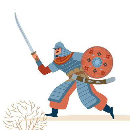 Central Asian Strong warrior character cartoon, flat style vector illustration isolated on white background. Vektoros illusztráció
