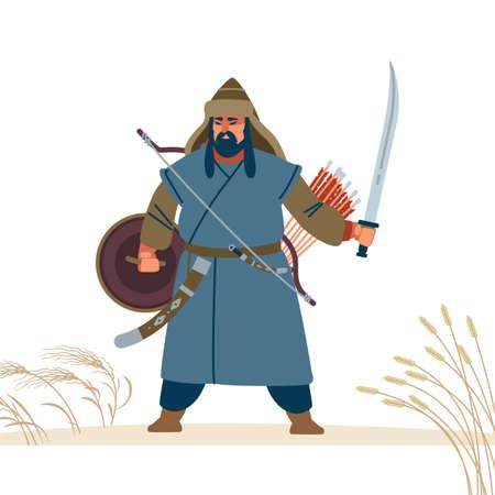 Mongol warrior character. Medieval battle illustration. Historical illustration. Isolated vector flat illustration. Ilustração