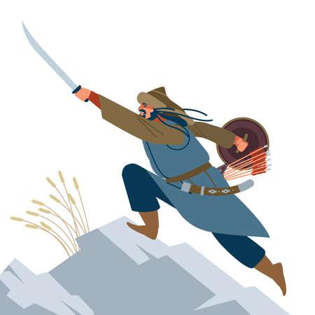 Mongol warrior. Medieval battle illustration. Historical illustration. Isolated vector flat illustration.