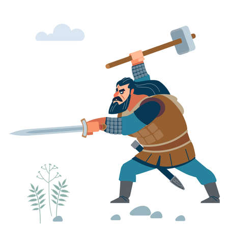 Viking. Dark strong viking. Medieval warrior from Scandinavian in battle. Vector flat cartoon illustration.