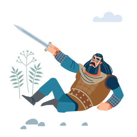 Angry medieval warrior with long medium dark hair, with sword defending against enemy. Flat, cartoon vector isolated illustration.