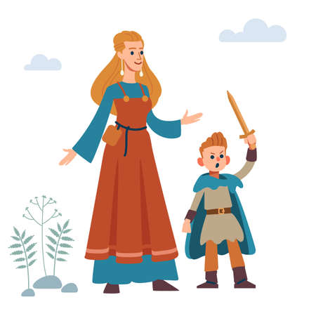 Woman viking. Historic medieval viking family. Mother and son. Vector Isolated on white background. Flat style. Illusztráció