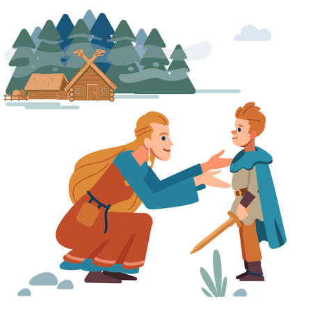 Viking family. Medieval viking family. Mother and son. Mother takes care of child. Vector Isolated on white background. Flat style.