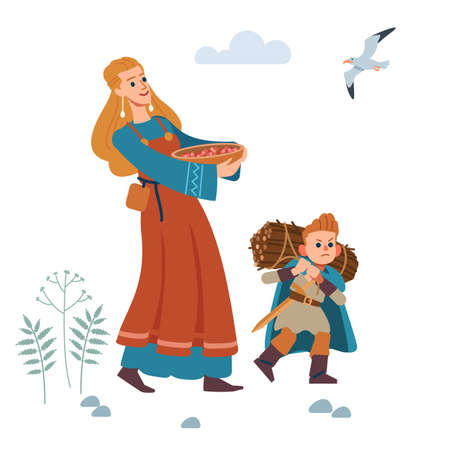 Medieval Viking family. Mother and son are engaged in agriculture. Mother gathered berries, and son bears fuel-wood. Vector isolated illustration. Flat style. Illusztráció