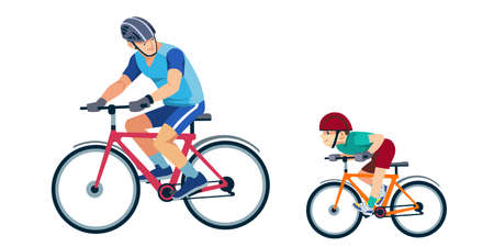 Father teaches son to ride a bike. Kid learns to ride bicycle. Sporty family. Outdoor activity. Son and dad in sportswear. Happy family. Cartoon flat isolated vector design