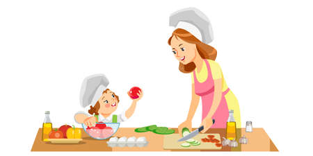 Mom and kid girl preparing healthy food at home. Concept motherhood child-rearing. Mothers day holiday concept. Isolated vector illustration in cartoon style. Vettoriali