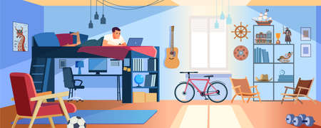 Student Learning Online at Home. Young Teen lying at bunk bed, Looking at Laptop and Studying. Dormitory room interior. Online Education Concept. Stay at home. Cartoon style Vector Illustration