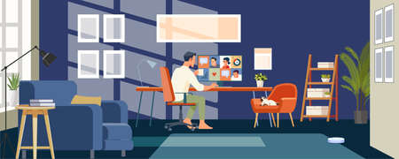 Working at home. Businessmen employee speak talk on video call with colleagues on online briefing, worker have Webcam group conference with coworkers. Flat style Vector Illustration