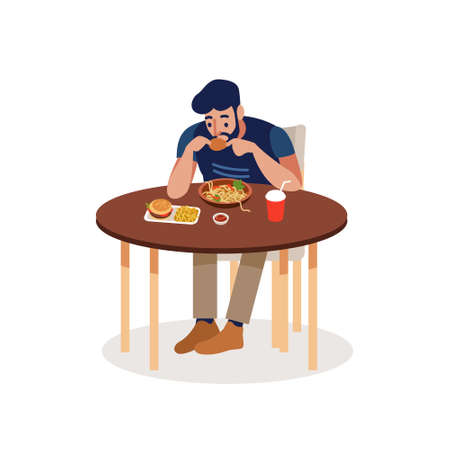 Man eating at a fast food table isolated on a white background. A man comes into a fast food and makes an order. Flat vector illustration