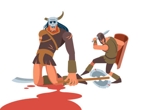 The hero defeats the giant in the arena. Vettoriali