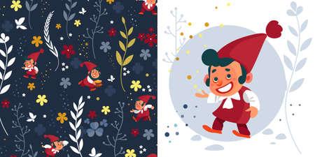 Dwarf. Gnomes. Fairy tale. Fantastic character. Magical stories vector clip art