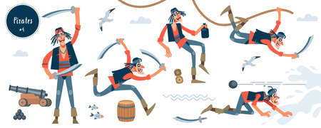 Pirate. Bandit. Thin pirate character in different pose. Cartoon flat isolated vector illustration
