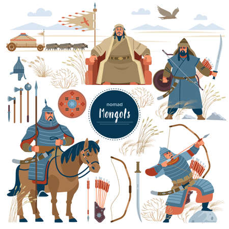 The Mongols. Set mongol nomad warriors flat characters. warriors, khan, sword, armor, genghis, steppe, shield, army, horse, arrow, rider, archer, horde, bow, emperor, yurt, bull, eagle. Flat style Vettoriali