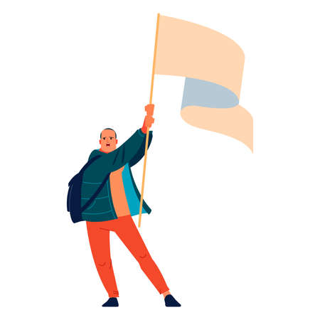 Leader activist man with a flag shouts in protest for human rights. Peaceful rights protest. Parade, picket and strike. Cartoon character flat style vector illustration isolated on white background