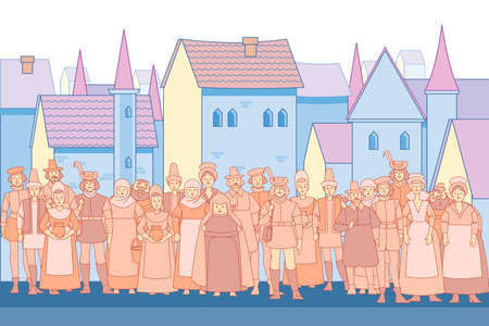 Fabulous background with medieval crowd people and medieval city. Old town street with houses. Vector illustration in cartoon style Vecteurs
