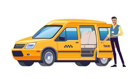 Taxi driver opens the door of his car and invites passengers. Yellow car taxi. Taxi service offer. Welcome hand gesture. Business vector illustration, flat design, cartoon style. Isolated background