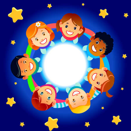 Happy children hold hands and dance in a circle. Cute boys and girls have fun on the background of stars. Cartoon vector illustration Vector Illustratie