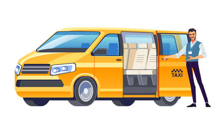 Taxi driver inviting passenger get into Minibus taxi. Van car driver service. Cab Company Business. Welcome hand gesture. Vector illustration, flat design, cartoon style. Isolated background