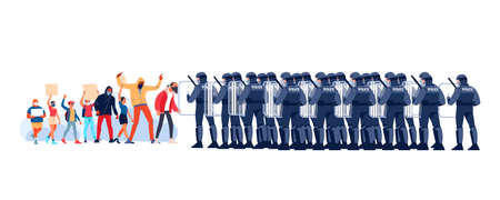 Crowds of white and black people at a demonstration for human rights. People with placards and posters. Group riot police with protective gear and shields. Vector flat style cartoon illustration