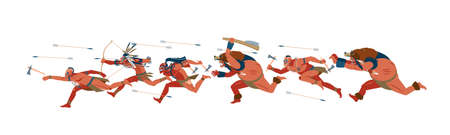 American indian warriors in the attack, running. African tribes, Australian aboriginal set, a member of the tribe with a weapon in his hands. Vector cartoon flat illustration on white background.
