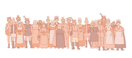 Medieval crowd people. A collection of cute funny male and female characters for a fairy tale background. Muted color vector illustration in a flat cartoon style, isolated on a white background Vektoros illusztráció