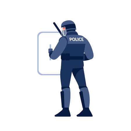 Riot police officer in uniform, helmet with shield and baton. Cartoon flat style character design vector illustration isolated on white background