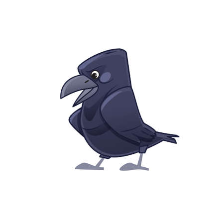 Cartoon crow talking. Vector isolated on white background.
