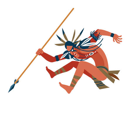 Wild american indian warrior ran to attack its prey. Unusual savage costume, jewelry, makeup combat and spear in hand. Cartoon, flat vector illustration isolated white background