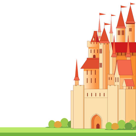 Big red fairy castle with white background place for text. Cartoon vector illustration